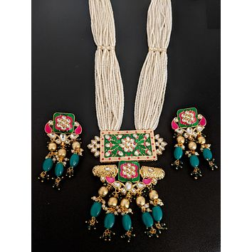 White seed bead multi stranded long chain with Meenakari work designer pendant and earring set