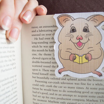 Magnetic bookmark of Mikey the Hamster! Book accessories, Childrens art, School supplies, Book gift, Animal collectibles, BOOK FARM ANIMALS