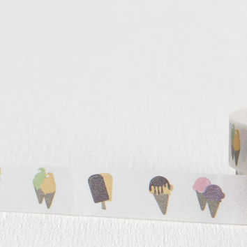 Frozen Treats Washi Tape with Popsicles, Ice Cream Cones, and Frozen Fudge Bars, 15mm