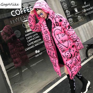 Cute Pink Long Cotton Padded Jacket Hooded 2017 Winter Women Funny Graffiti Print Warm Thick Coat with Hat Preppy style LT110S15