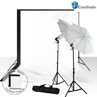 LimoStudio Photography Light Photo Video Studio Umbrella Reflector White Black Photo Backdrop Lighting Kit Combo, AGG725