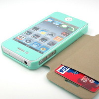 New HOT Mint screen + Mint 1-Card pouch flip case cover for iPhone 4 4S 4G