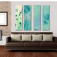 Green Abstract Painting, - 5 panel CUSTOM  Abstract Wall art, Large abstract artwork, - Blue, Purple