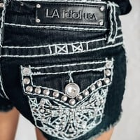 L.A. Idol Bling Cross Cutoff Shorts