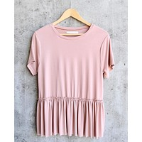 Dreamers - Dainty Peplum Top in Pink