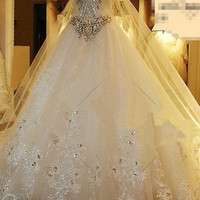 Bandage Tube Top Crystal Lace Sweetheart Luxury Wedding Dress Bridal Dress gown vestido de noiva d56231