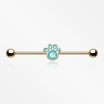 Golden Adorable Paw Print Opalescent Sparkle Industrial Barbell
