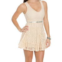 Belted Lace Tiered Dress   Shop Sale at Wet Seal