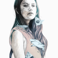 Girl with wild animals, sharks in illustration