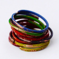 Assorted Stacking Rings, Handpainted Copper Stacked Rings, Distressed, Set Of 8, Multicolor Stackackable Ring Set