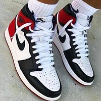 Air Jordan 1 Classic Men Women High Help Sport Shoes Sneakers(Black&White&Red)