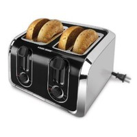 BLACK+DECKER TR1400SB 4-Slice Toaster, Black/Silver