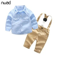 NWAD Boys Baby Clothing Sets Springs Fshion Newborn  Infant Clothing Gentleman Suit Plaid Shirt+Bow Tie+Suspender Trousers FF387