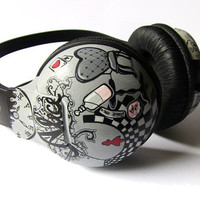 Alice in Wonderland headphones by ketchupize on Etsy