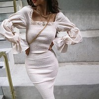 Slash Neck Dresses Women Ruffles Elegant Bodycon Midi Dresses Lady Slim Pleated Casual Clothing