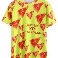 Yellow JUST SAY YES TO PIZZA Printed T-shirt