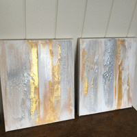 Gold and silver artwork gold diptych gold textured art gold and silver painting gold abstract artwork gold decor