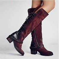 Back Lace Up High Chunky Heel Knee High Boots