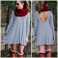 Line Up Charcoal Striped Open Back Dress