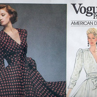 Vogue American Designer Albert Nipon 80s Sewing Pattern Wrap Style Dress Evening Gown Puff Shoulders Full Twirl Skirt Uncut Bust 34