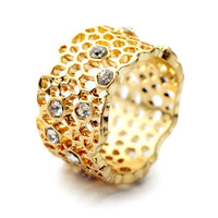 Stoned Gold Bee Hive Ring