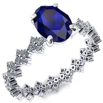 Lacy Oval Blue Sapphire 4 Prong Single Rail Full Eternity Engagement Ring