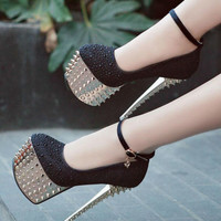 Woman'S Platform Pumps Studded Spike Ankle Strappy Glitter High Heels Shoes H83
