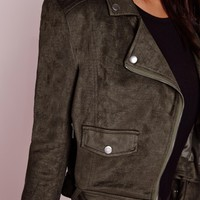 Missguided - Faux Suede Long Sleeve Biker Jacket Khaki