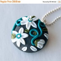 Christmas Sale Teal, White and Olive Green Flower Polymer Clay Necklace, Swarovski Crystal, Gifts under 20
