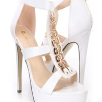 White Charm Open Toe Platform Heels Faux Leather