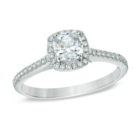 1 CT. T.W. Cushion-Cut Diamond Frame Engagement Ring in 14K White Gold