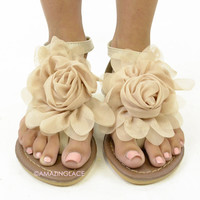 Forget Me Not Ivory Flower Sandals