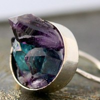 Mixed Crystal Keyhole Sterling Silver Ring-  Custom Made
