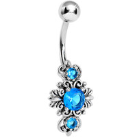 Silver 925 Aqua Gem Silver Scroll Leaf Belly Ring | Body Candy Body Jewelry