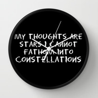 My Thoughts Are Stars I Cannot Fathom into Constellations - The Fault in Our Stars (John Green) Wall Clock by Lauren Ward