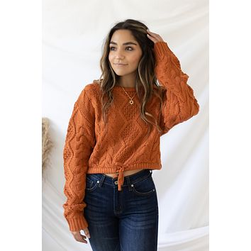 New Fascination Cropped Sweater - Pumpkin