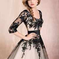 New Black/Champag Lace Sleeves A-line Wedding Dress Bridal Gown 6 8 10 12 14 16