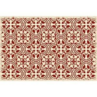 Quad European Design  Size Rug: 2ft x 3ft red & white
