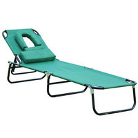 Outsunny Folding Face Down Beach Sun Bathing Tanning Lounger Lounge Chair -Green
