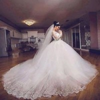 Modest Lace Wedding Dress Long Sleeves Winter Bridal Dress Size 2 4 6 8 10 12 14