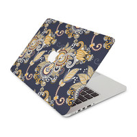 Gold and Navy Blue Floral Design Skin for the Apple MacBook