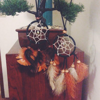 Small Feather & Charm Dreamcatcher || Vegan Leather || Car || Boho || Hippie