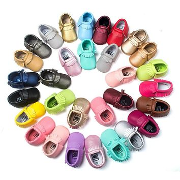 ROMIRUS Baby Moccasins Moccs Fringe Casual Shoes Soft PU Leather For Bebe Kids Girls Boys Toddler Children Newborn - Grey