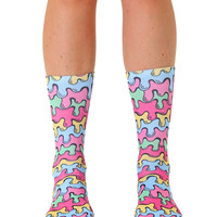 Neon Drips Crew Socks
