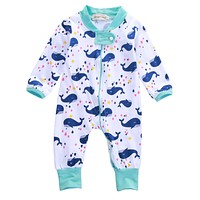 Kids born Infant Toddler Baby Boys Long Sleeve Zipper Romper Whale Jumpsuit Outfits Clothes