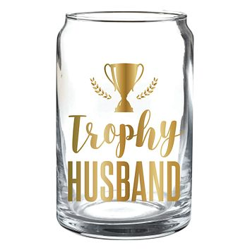 Trophy Husband Beer Can in Glass and Gold