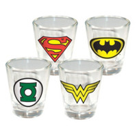 DC Comics Superhero Logo Shot Glass Set