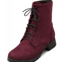 Burgundy Suede Leather Lace Up Womens Combat Military Boots Lace Up Motorcycle Boots Womens Alternative Measures