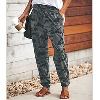 Casual Camo Print Strappy Pants