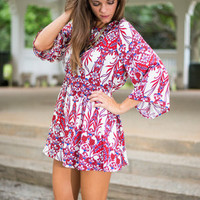 Promise Of Paradise Romper, Red-Blue